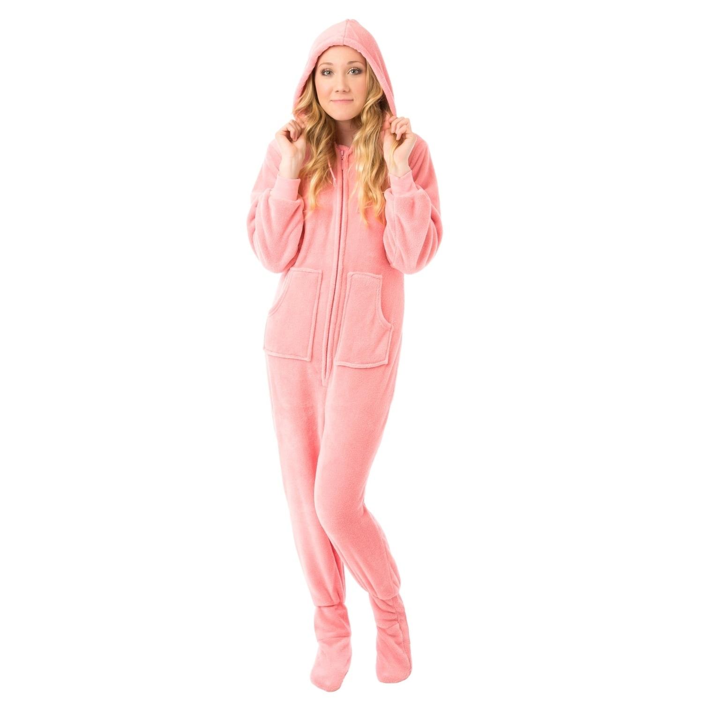 Pink Velvet Plush Hoodie Adult Footie Footed Pajamas w/ D...