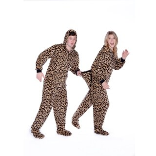 Big Feet Pajamas Unisex Leopard Plush Hoodie Footed Dropseat One-piece Pajamas