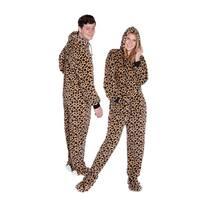 Big Feet Pajama Co Adult Leopard Plush Hoodie Footed One Piece Pajamas