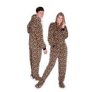 Big Feet Pajama Co Adult Leopard Plush Hoodie Footed One Piece Pajamas