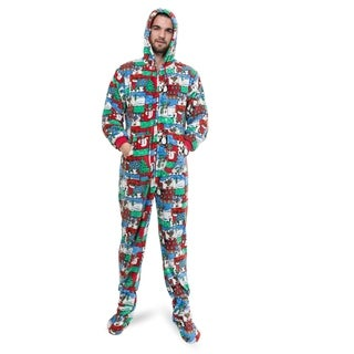 Big Feet Pajama Co Winter Fun Print Plush Adult Hoodie Footed Dropseat One-piece Pajamas