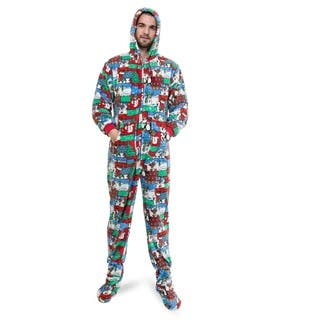 Big Feet Pajama Co Adult Multicolor Winter Fun Plush Hoodie Footed One-piece Pajamas|https://ak1.ostkcdn.com/images/products/14388075/P20959678.jpg?impolicy=medium