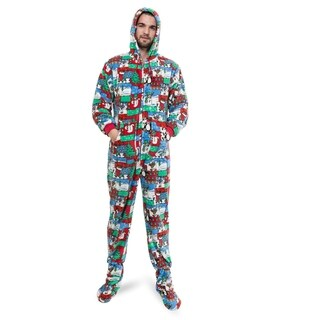 Big Feet Pajama Co Adult Multicolor Winter Fun Plush Hoodie Footed One-piece Pajamas