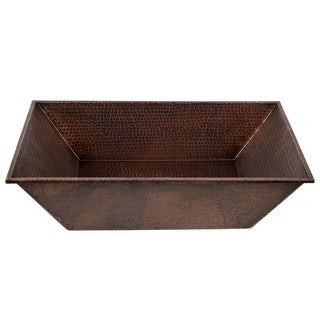 20-Inch Rectangle Vessel Hammered Copper Sink
