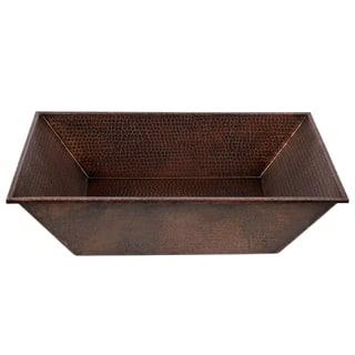 20-Inch Rectangle Vessel Hammered Copper Sink