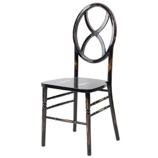 Veronique Series Stackable Wood Dining Chair (Sand Glass) - Lime black wash