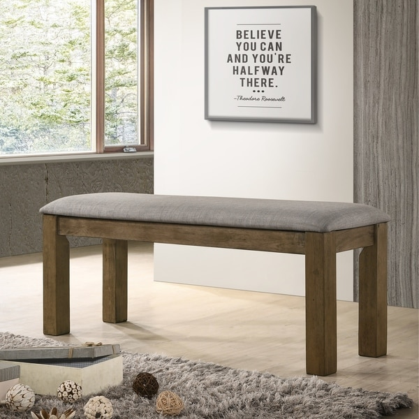 Shop Costabella Grey And Brown Solid Wood Dining Bench