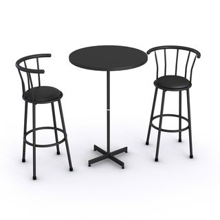 Nor Hill Black Metal 3-piece Bar-height Stool and Table Set