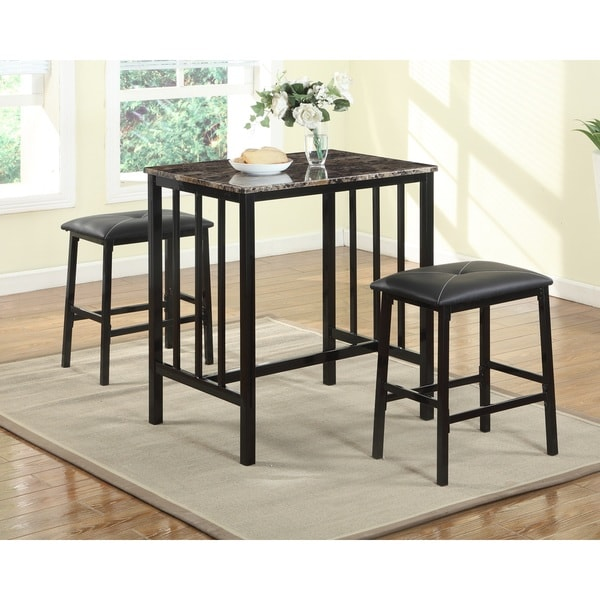 Bar Table Chairs Set Crown Mark Alyssa 3 Piece Bar Table: Shop Citico Transitional Black Metal And Faux Marble 3