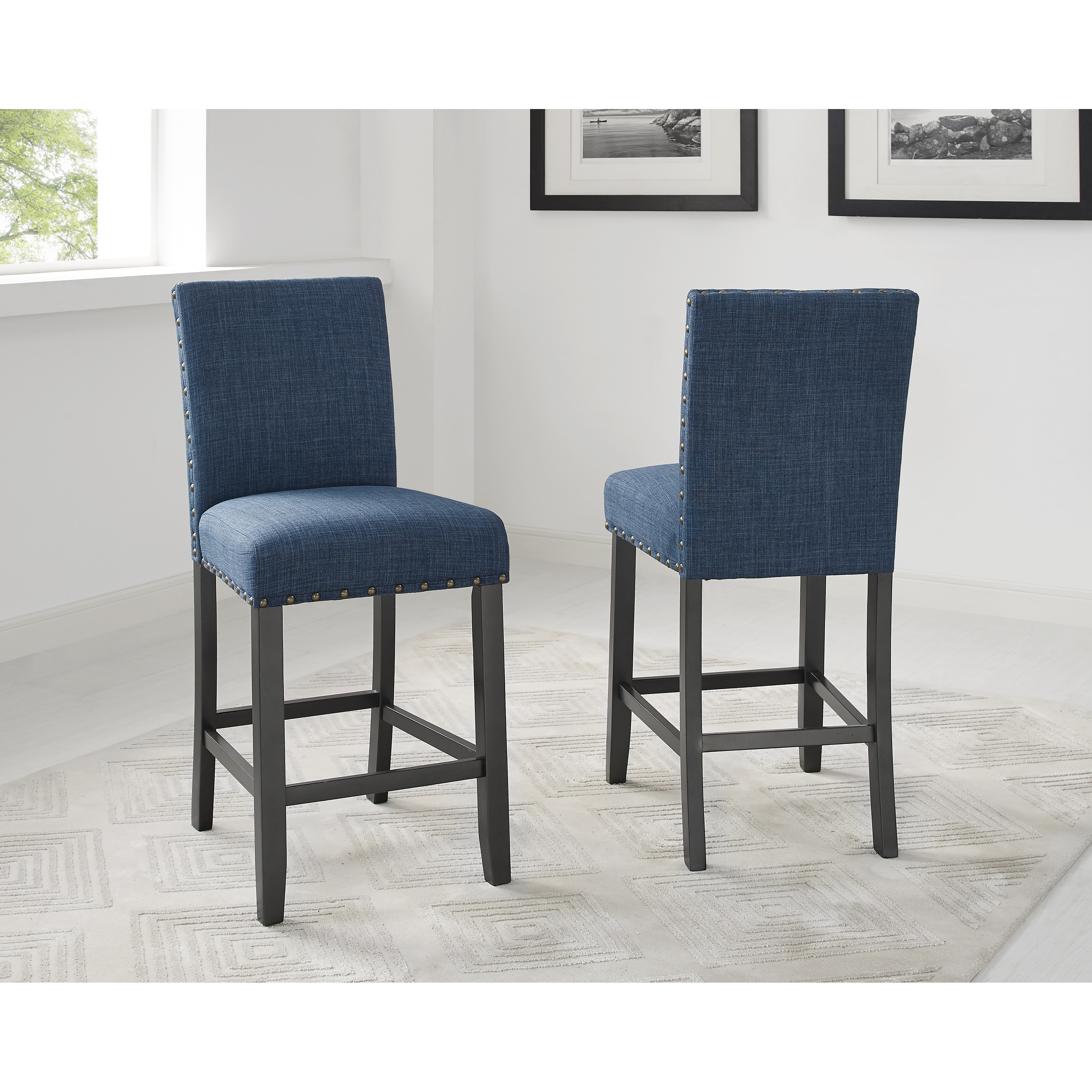 Shop Biony 26 Inch Nailhead Trim Fabric Counter Height Blue Stools