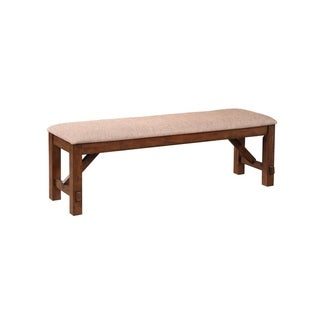 Karven Dark Hazelnut-finished Solid Wood Dining Bench with Tan Cushion