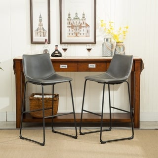 The Gray Barn Parker PU Leather Vintage Barstools (Set of 2)