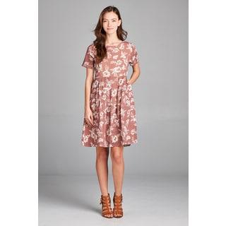 Spicy Mix Kaila Women's Mauve Cotton Linen Floral Pleated Waist Side Slit Pocket Dress