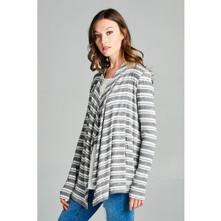 Spicy Mix Women's Cristal Grey and White Rayon Striped Long-sleeve Open-front Waterfall Cardigan