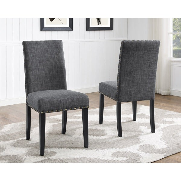 Biony Nailhead Trim Fabric Dining Chairs Set Of 2 Free