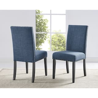 blue dining room chairs. Clay Alder Home Humboldt Nailhead trim Fabric Dining Chairs  Set of 2 Blue Kitchen Room For Less Overstock com