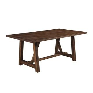 Alpine Arendal Oak Rubberwood and Veneer Trestle Dining Table