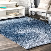 nuLOOM Handmade Contemporary Abstract Swirl Blue Rug - 4' x 6'