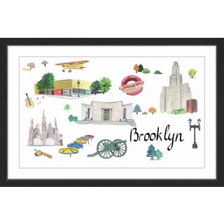 Marmont Hill - 'Welcome to Brooklyn in Black' Framed Painting Print
