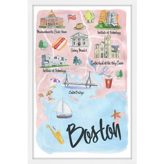 Marmont Hill - 'I Love Boston' Framed Painting Print