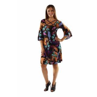 24/7 Comfort Apparel Wonderful Watercolors Criss Cross Dress
