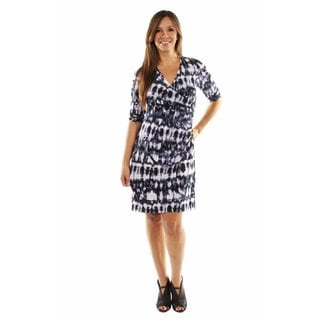 24/7 Comfort Apparel On Trend and Timeless Batik Faux Wrap Dress