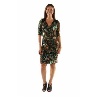24/7 Comfort Apparel Peacock Pretty and Brilliant Style Faux Wrap Dress