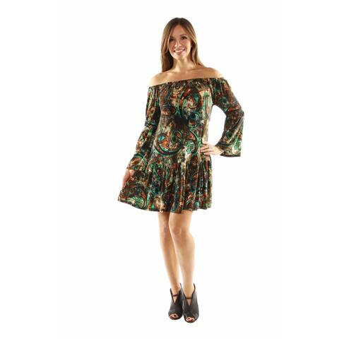 24/7 Comfort Apparel Peacock Party Dress with Drop Waist Style