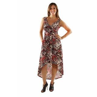 24/7 Comfort Apparel Dazzling High Low Swirl Dress