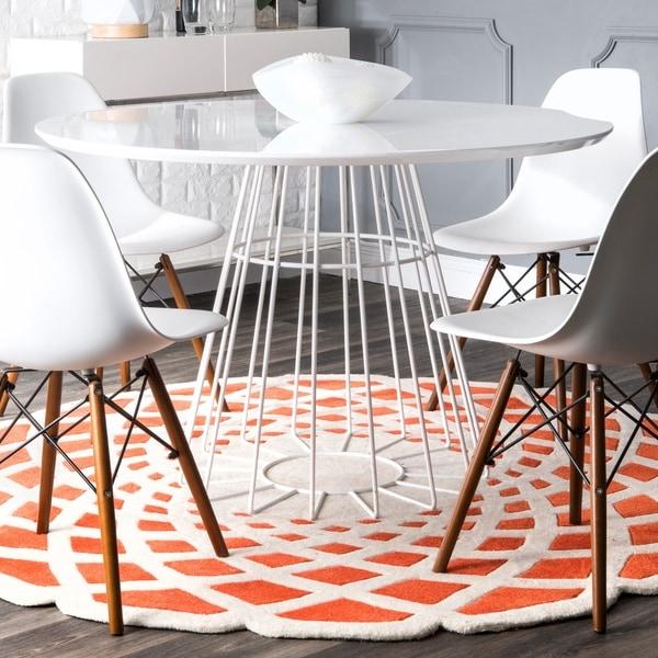 nuLOOM Handmade Abstract Orange Round Rug - 4' Round