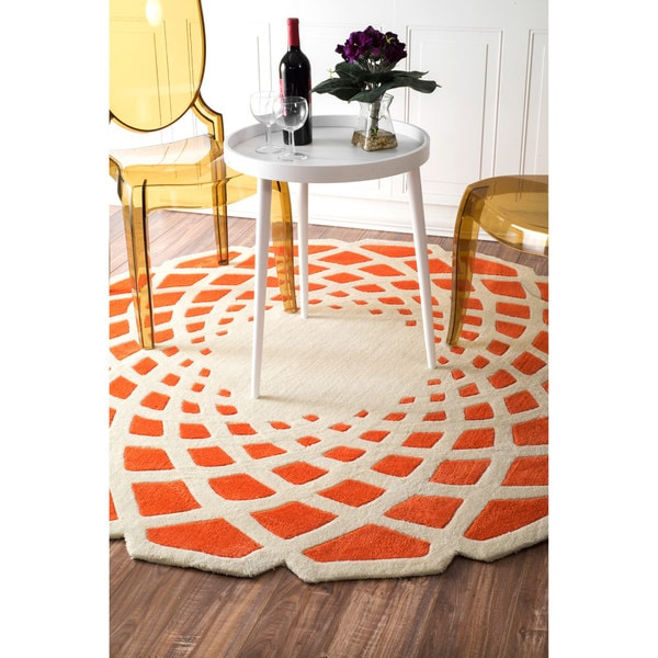 nuLOOM Handmade Abstract Orange Round Rug (4' Round)