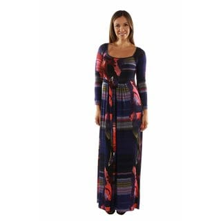 24/7 Comfort Apparel Turn on the Heat Abstract Maxi Dress