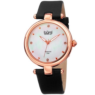 Burgi Women's Dazzling Diamond Rose-Tone Dial Black Leather Strap Watch