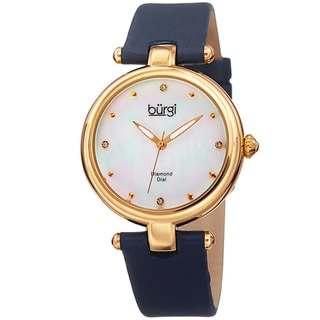 Burgi Women's Dazzling Diamond Gold-Tone Dial Blue Leather Strap Watch