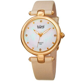 Burgi Women's Dazzling Diamond Gold-Tone Dial Cream Leather Strap Watch with FREE Bangle
