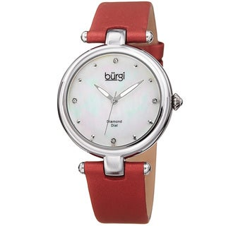 Burgi Women's Dazzling Diamond Silver-Tone Dial Red Leather Strap Watch