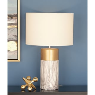 Urban Designs White and Gold Column Ceramic 24-Inch Table Lamp