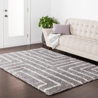 Everett Geometric Plush Shag Area Rug