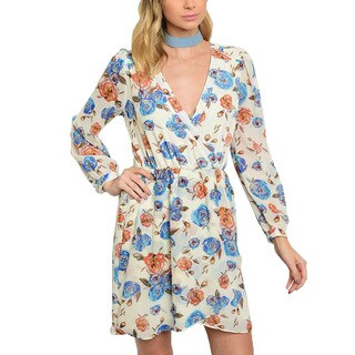JED Women's Floral Print V-neck Long-sleeve Dress