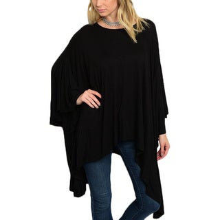 JED Women's Black Rayon and Spandex Batwing-sleeve Loose-fit Asymmetrical Tunic