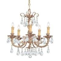 Crystorama Etta Collection 5-light Olde Brass/Swarovski Elements Strass Crystal Chandelier