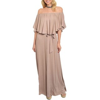 Jed Women's Rayon Off-shoulder Ruffled Maxi Dress