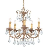Crystorama Etta Collection 5-light Olde Brass/Swarovski Spectra Crystal Chandelier