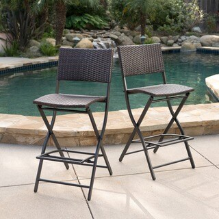 Margarita Outdoor Wicker Barstool (Set of 2) by Christopher Knight Home