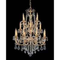 Crystorama Etta Collection 16-light Olde Brass/Swarovski Elements Spectra Crystal Chandelier