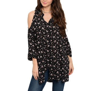 Jed Women's Rayon Relaxed-fit Cold-shoulder Button-down Floral Tunic Top