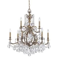 Crystorama Dawson Collection 9-light Antique Brass/Crystal Chandelier