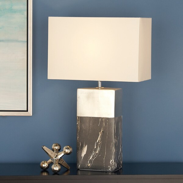 Urban Designs Rectangular Column Ceramic 25-inch Table Lamps (Set of 2)