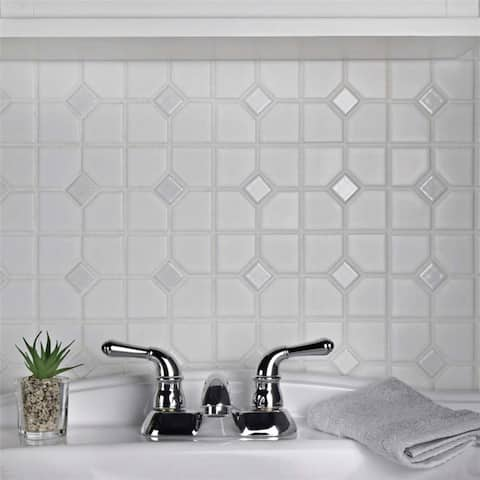 SomerTile 11.5x11.5-inch Cambridge Matte and Glossy White Porcelain Mosaic Floor and Wall Tile (10 tiles/9.2 sqft.)