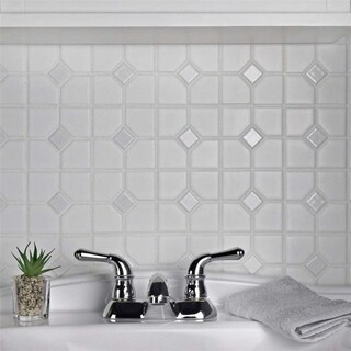 SomerTile 11.5x11.5-inch Cambridge Matte White with Glossy White Dot Porcelain Mosaic Floor and Wall Tile (10/Case, 9.38 sqft.)